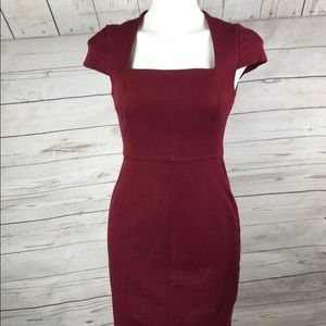 Banana Republic Garnet Burgundy Fitted Dress 4P